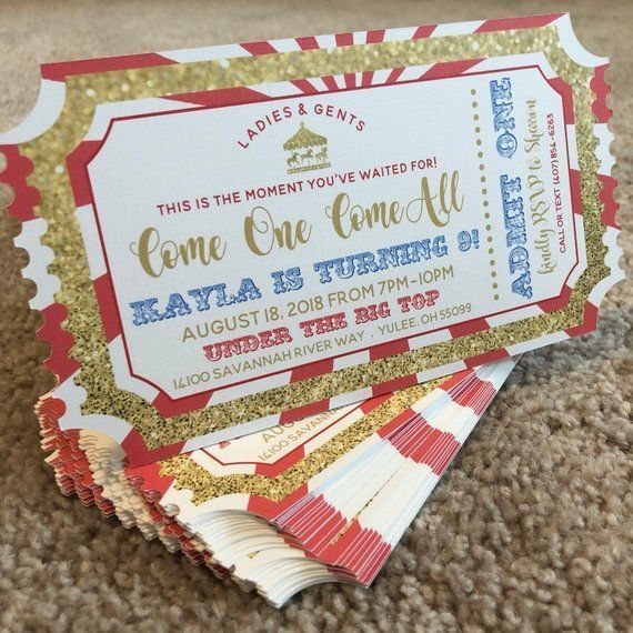 The Greatest Showman Ticket Invitation Circus Birthday Party Theme Carnival Birthday Parties Carnival Birthday Party Theme