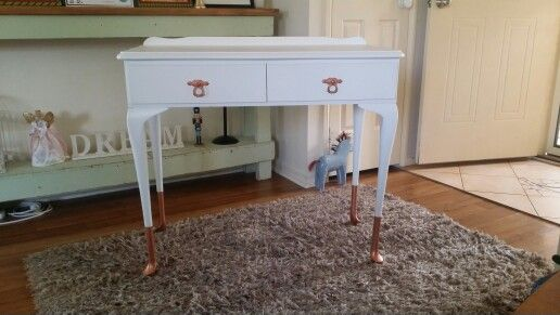 Refinished desk, with copper painted handles and copper dipped leg effect.