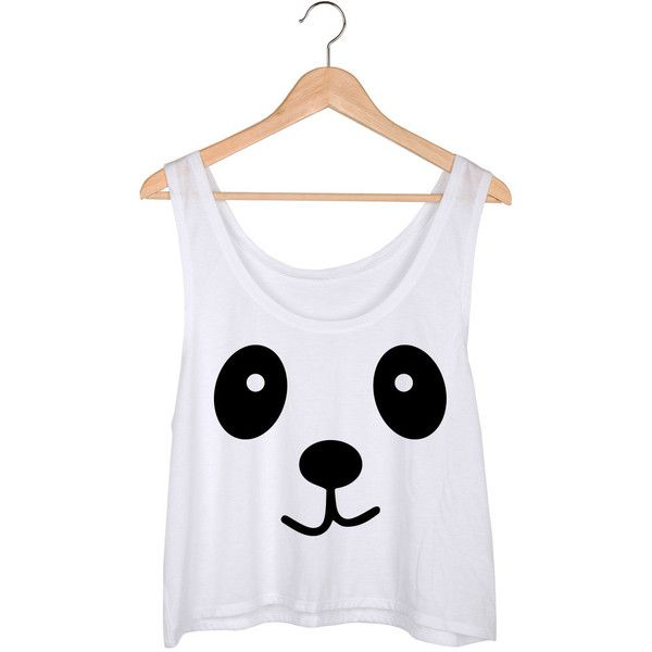 124d191087e Panda Crop Top ($21) ❤ liked on Polyvore featuring tops, shirts, crop tops,  tank tops, white, women's clothing, white shirt, relax… | My Polyvore Finds  ...