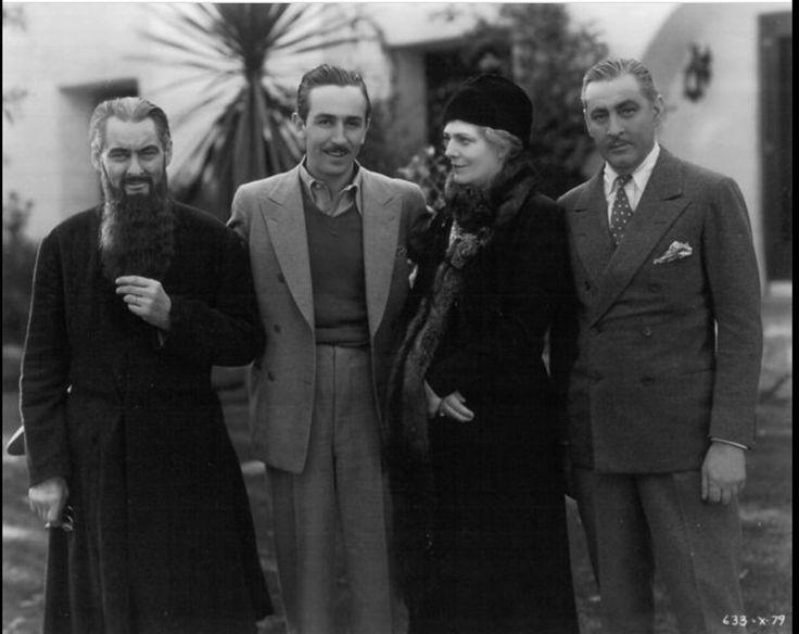 Lionel Barrymore, Walt Disney, Ethel Barrymore & John Barrymore