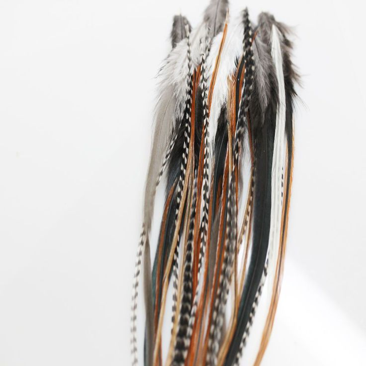 20pc NATURAL MIX 100% WHITING GRIZZLY / wholesale Feather hair extensions SALE:) #whiting #FeatherExtension