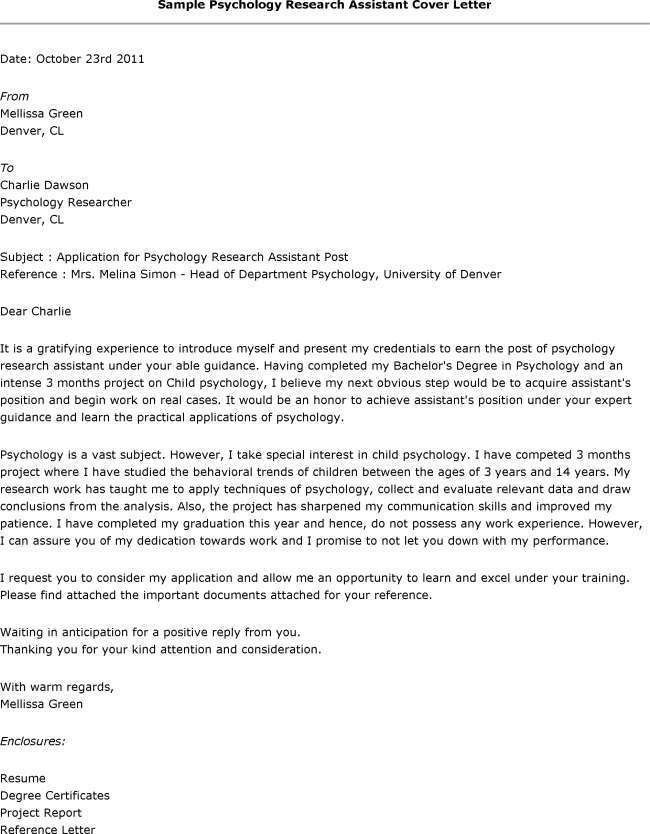 Cover Letter Template Research Assistant | Cover Letter Template ...