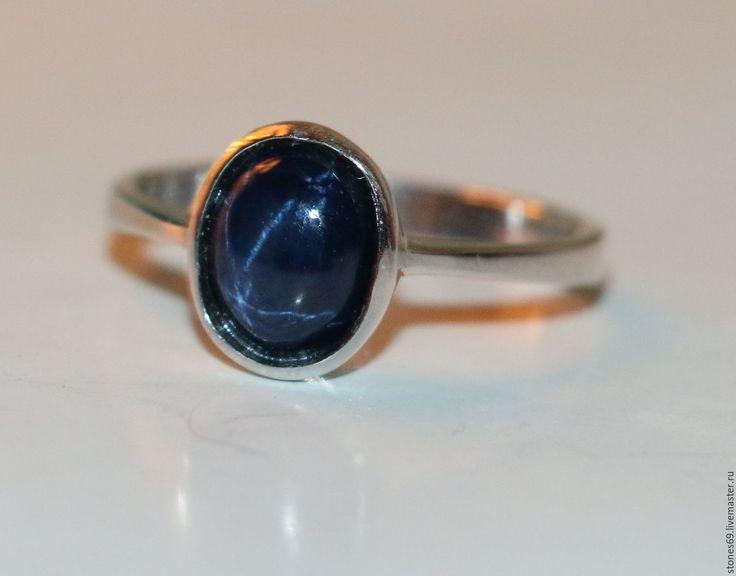 """Купить Кольцо -сапфир звёздчатый натуральный-серебро 925%""""ЗВЕЗДА СИРИУС"""" - кольцо с сапфиром, необычный подарок"""