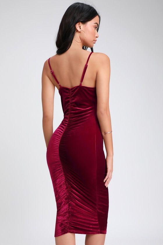 ef4db08364 Catherine Wine Red Velvet Ruched Bodycon Midi Dress in 2019 | Stuff ...