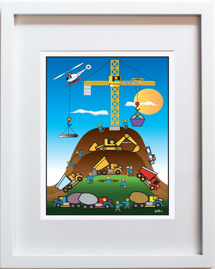 Construction Company. Original kids room and nursery decor. Can be personalized on our website. Perfect for a boys room. Also available in a smaller 8x10in white frame on our website.