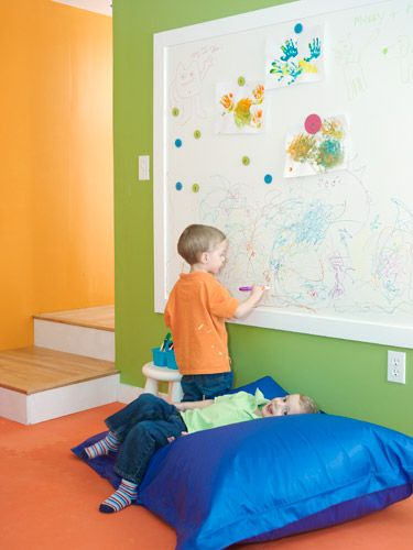 Love this idea (and all in the article) for the future basement playroom!!  Love the colors!!  -  Woman's Day