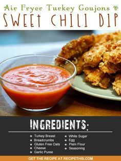 Air Fryer Recipes | Air Fryer Recipes | Air Fryer turkey goujons and sweet chilli dip recipe from RecipeThis.com http://ift.tt/2ijNwFF
