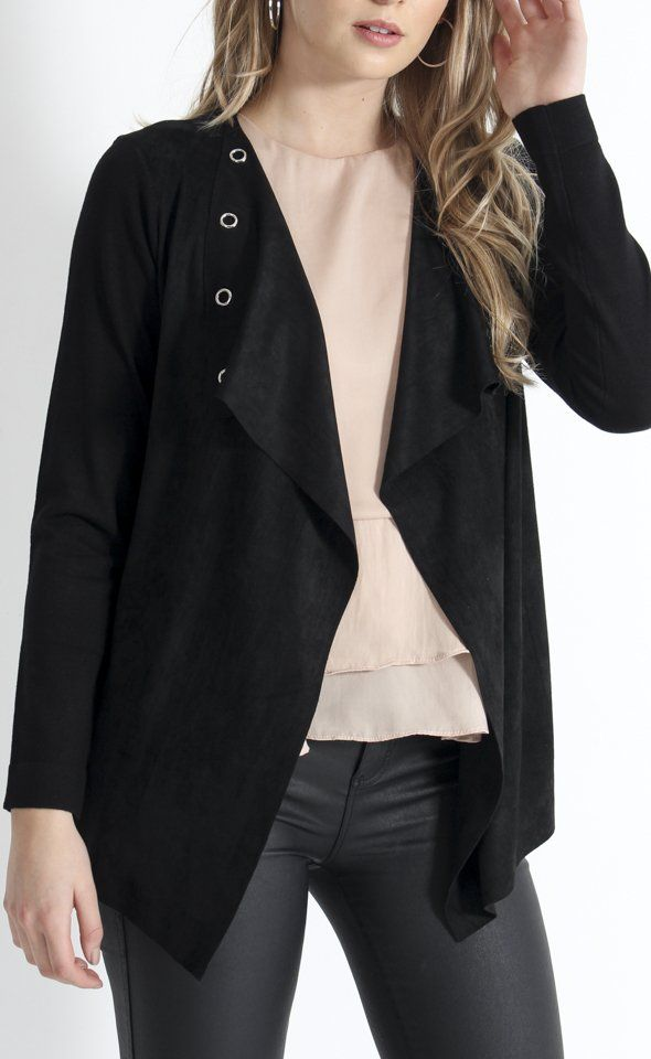 Knitwear Eyelet Jacket | Eyelets add a modern edge to the lapels of this jacket. The front of the body is crafted from a soft faux suede, cut to fall beautifully in a waterfall style. This texture is contrasted by the sweater knit of the sleeves and back body.
