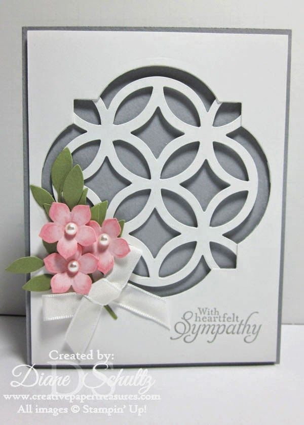 handmade card from Creative Paper Treasures: Heartfelt Sympathy ... trellis die in labels window space ... trio of punched flowers ... Stampin' Up!