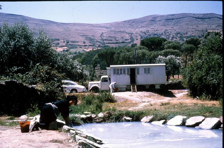 """[Henrik Swane, photographer]. Autocamper """"Casambu"""" - Homebuilt by the Danish artist-family Swane, drawn and decorated by wife/mother - and artist - Agnete Swane. In """"Casambu"""" the family travelled a lot, mainly in Spain and Portugal."""