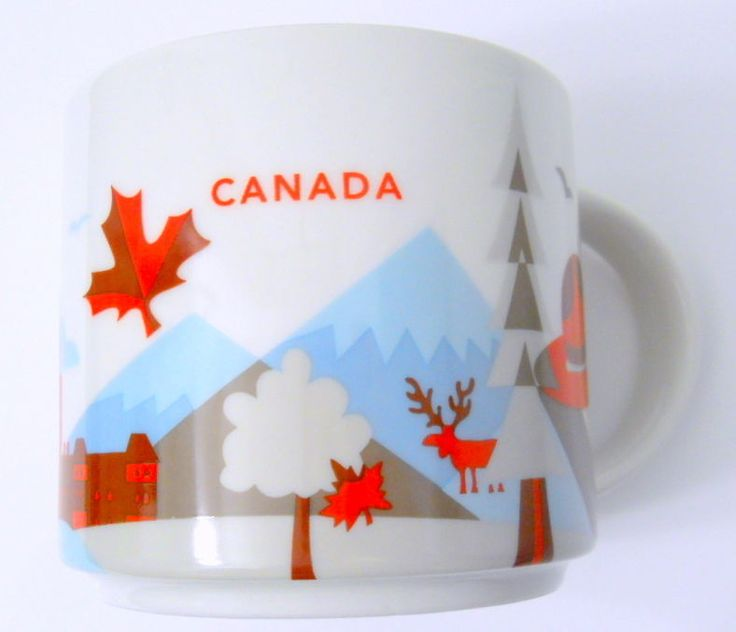 New Starbucks Canada 2015 Coffee Mug You Are Here Leaf Quebec City Hat Trees #Starbucks
