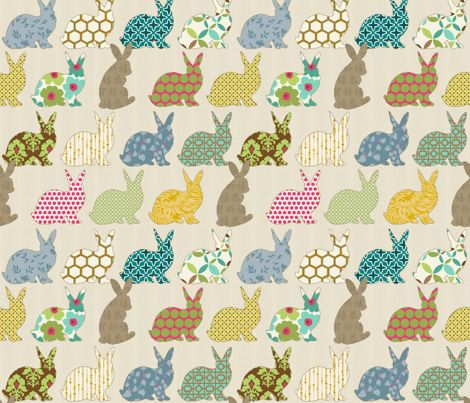 year of the COLORFUL rabbit fabric by littlerhodydesign on Spoonflower - custom fabric