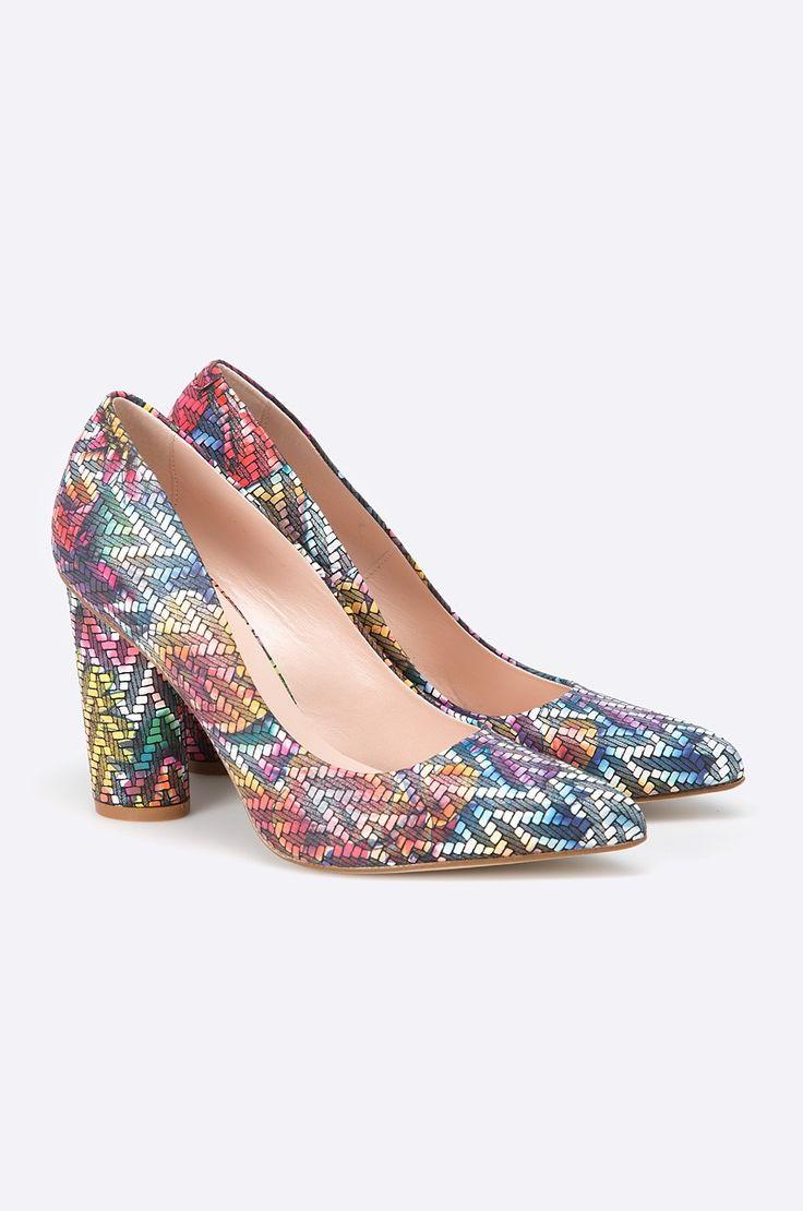 Pantofi cu toc gros  - Solo Femme - Pumps