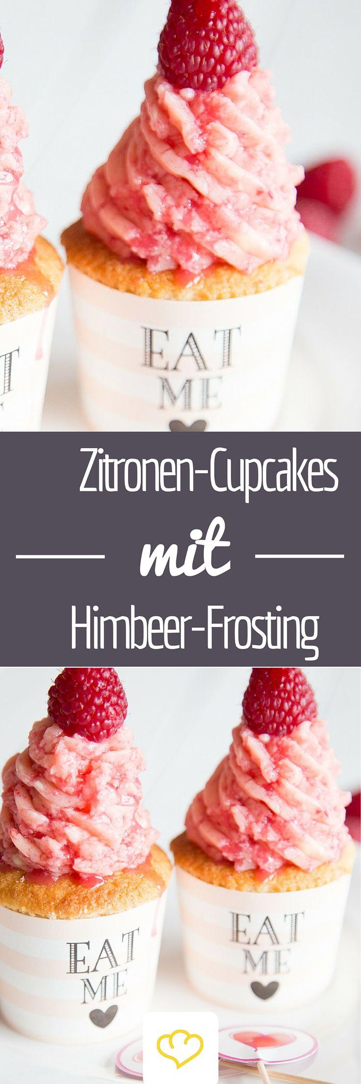 Zitronen-Cupcakes mit Himbeerfrosting - ein Traum in Rosa und eine schöne Überraschung zum Valentinstag!