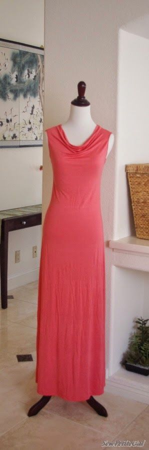 Draped neck Maxi dress. Found at http://sewpetitegal.blogspot.com/2014/07/draped-neck-maxi-dress-diy-tutorial.html