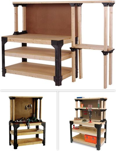 With the AnySize workbench kit, you are no longer limited to a standard-size workbench. Just add 2x4s and plywood or particleboard to make a workbench in any length or width up to 8 feet by 4 feet.