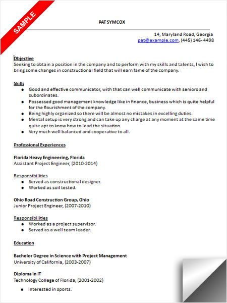 project engineer resume sample - Assistant Project Engineer Sample Resume