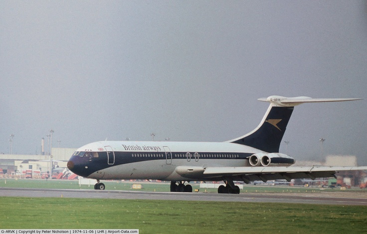 G-ARVK, 1964 Vickers VC10 Srs 1101 C/N 813, VC.10 of British Airways taxying onto Runway 27L at Heathrow in November 1974 - still wearing former BOAC markings.