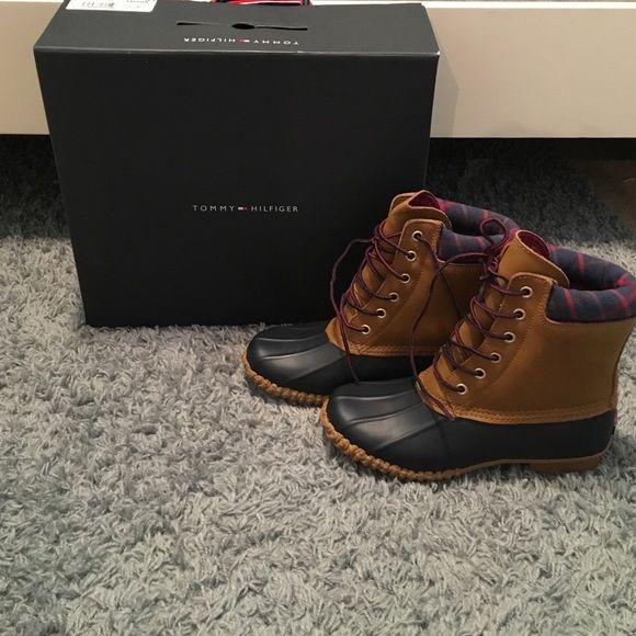 Duck boots! Brand new! Super cute just to big for me! Wish they fit Tommy Hilfiger Shoes Winter & Rain Boots
