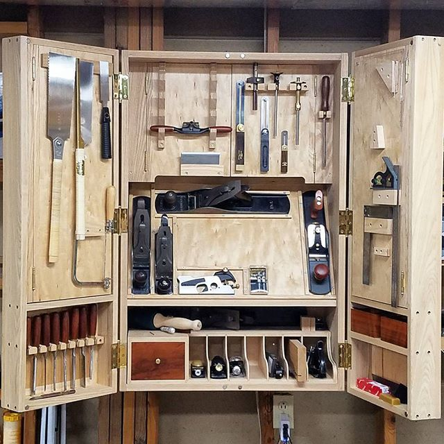 As I look to designing a stand for my new lathe my #tbt is of my favorite shop build ever my hand tool cabinet. It's by far the nicest piece of shop built furniture I have. Made from ash and maple ply. Can I top this with the lathe stand? Should I even try?  #handtools#tools #shop#woodshop