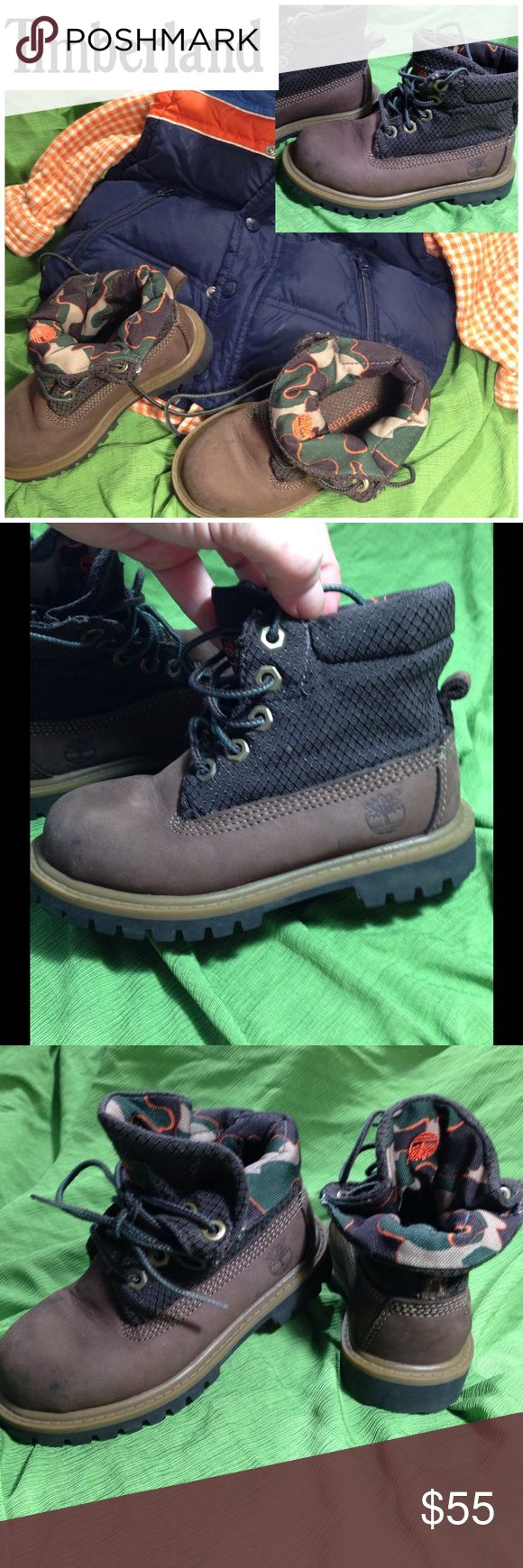 *Kids* Timberland Leather Boots size 8 1/2Toddler *Kids* Timberland Boots size 8 1/2 adorable Dark brown, leather,  lace up or fold over, great support only worn a couple times excellent condition please ask, selling on other sites trying to see how the kids market fares here. Timberland Shoes Boots