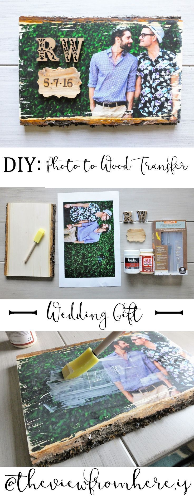 DIY: Photo-to-Wood Transfer Wedding Gift || theviewfromhere.is