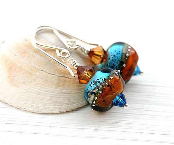 Blue and Topaz Bohemian Glass Earrings/Artisan by MayaHoneyJewelry  #earrings #forsale #etsy #glass #handmade #accessories #beaded #homemade #bohemian #shopping #handcrafted #forgirl #jewelry #lampwork #fashion #mayahoney #boho #dangle #blue