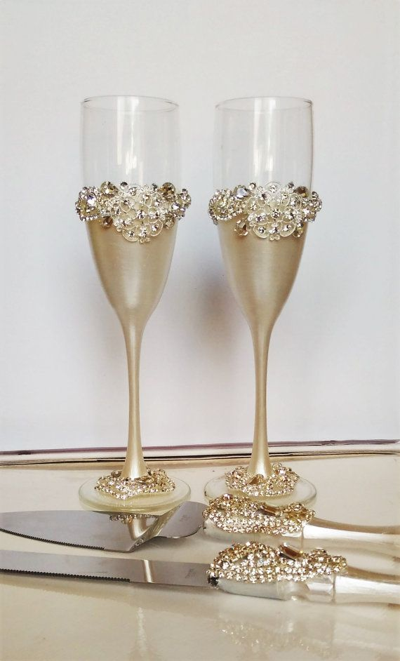 Wedding Glasses And Cake Server Set Cake Knife Silver And