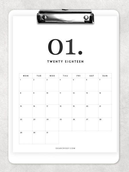 Free Printable Minimal/Modern Calendar Printable - Minimalist Calendar - Modern Calendar #FreePrintable #2018 #Calendar #Printable