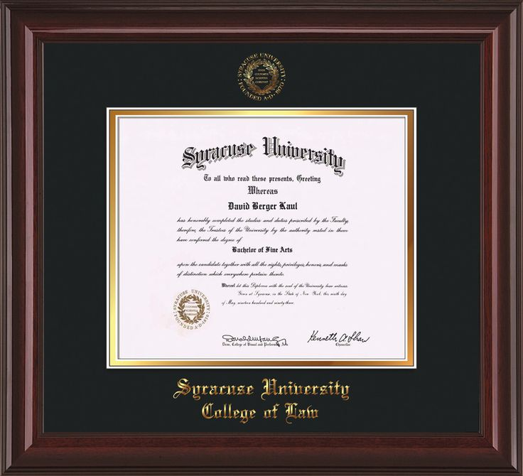 Syracuse University Diploma Frame-Mah Lacquer-w/SU Law-Black on Gold – Professional Framing Company