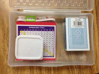 Great idea of sending home a math game box with each student to practice math skills at home rather than homework. Start out with a few tools and games and add to throughout the year as you cover more skills.