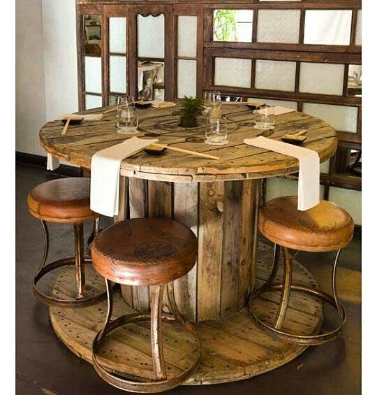Big cable spool make a great kitchen table