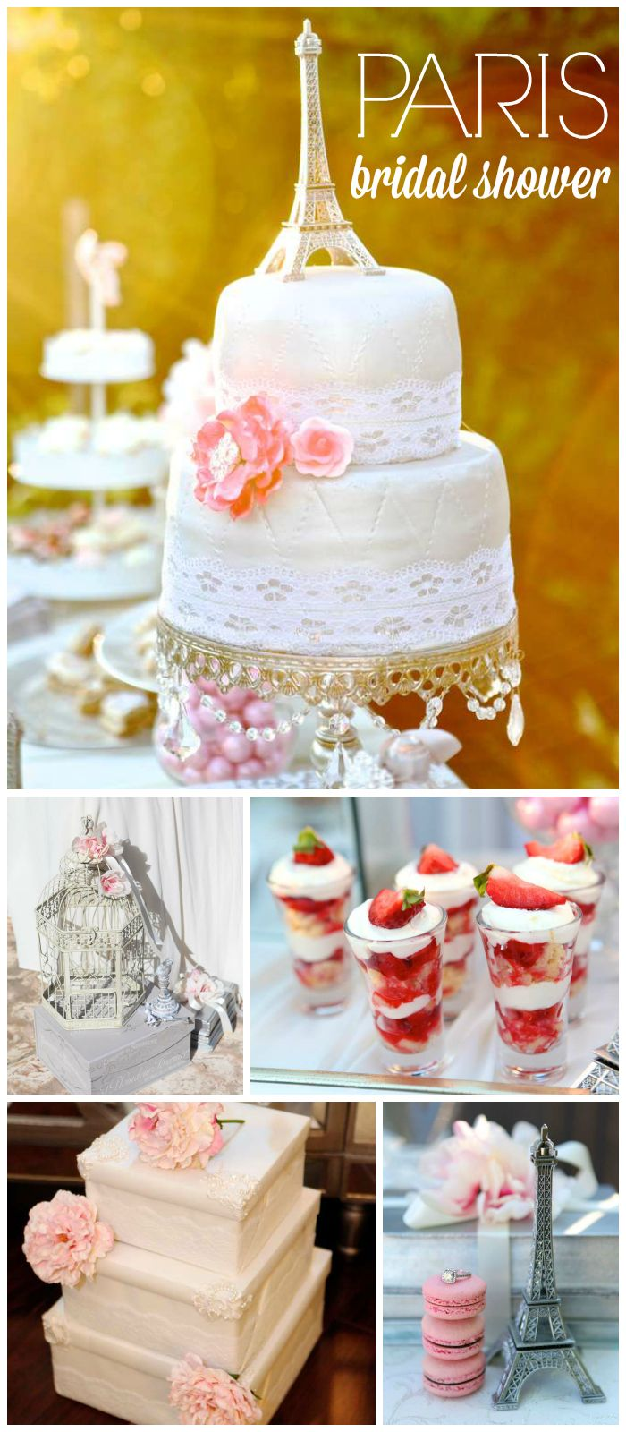 A stunning outdoor Paris themed bridal shower with a gorgeous cake and party decorations! See more party planning ideas at CatchMyParty.com!