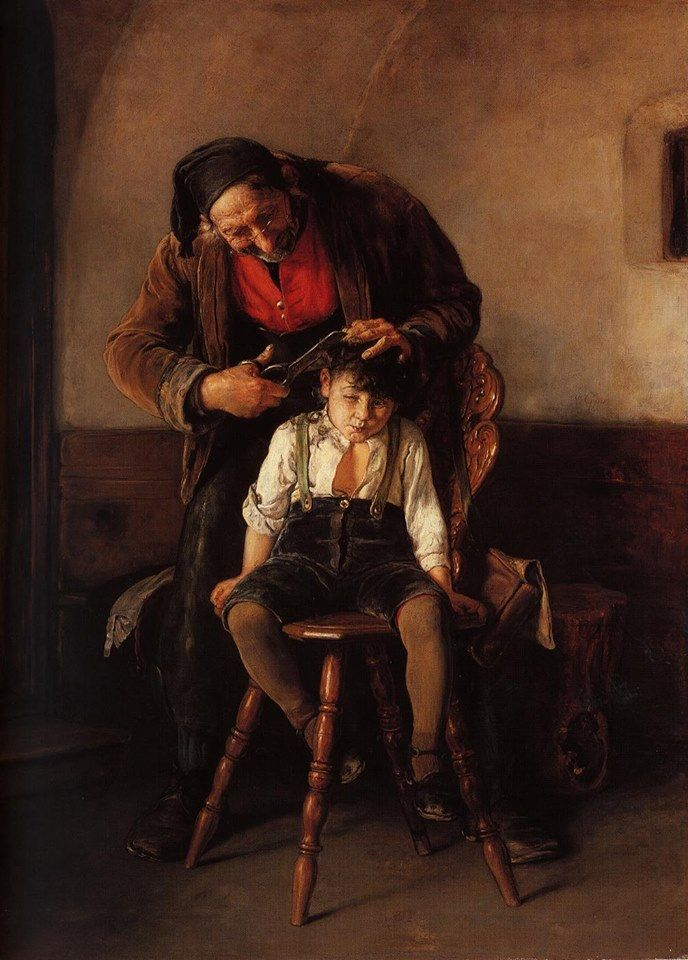 The Barber by Nikolaus Gysis (1842 – 1901) / The Private Collection #art #barber #nikolaus gysis