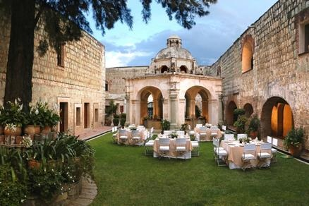 A beautiful wedding party setup at the Camino Real Oaxaca in Central Mexico