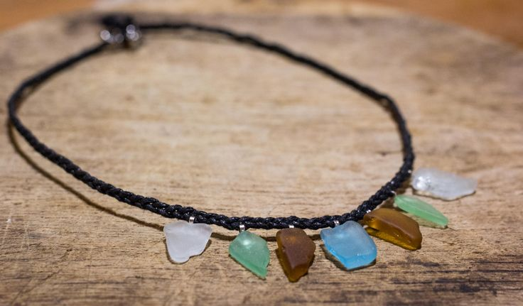 Bib necklace, Summer choker, sea glass jewellery, surfer jewelry, Boho necklace, pleated necklace, unique jewelry, by DreamsSanctuary on Etsy