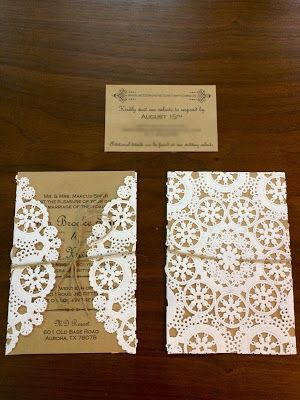 DIY Rustic Lace Doily Wedding Invitations Fleur de Licia