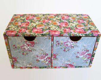 Rosas Vintage Decoupage maquillaje organizador - escritorio ordenado - cajones de almacenamiento - almacenamiento de joyería