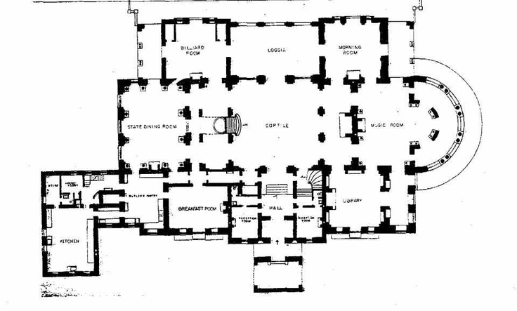 The Breakers Main Floor Plan Gilded Era Mansion Floor