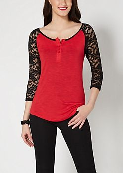 Red Lace Raglan Henley Top