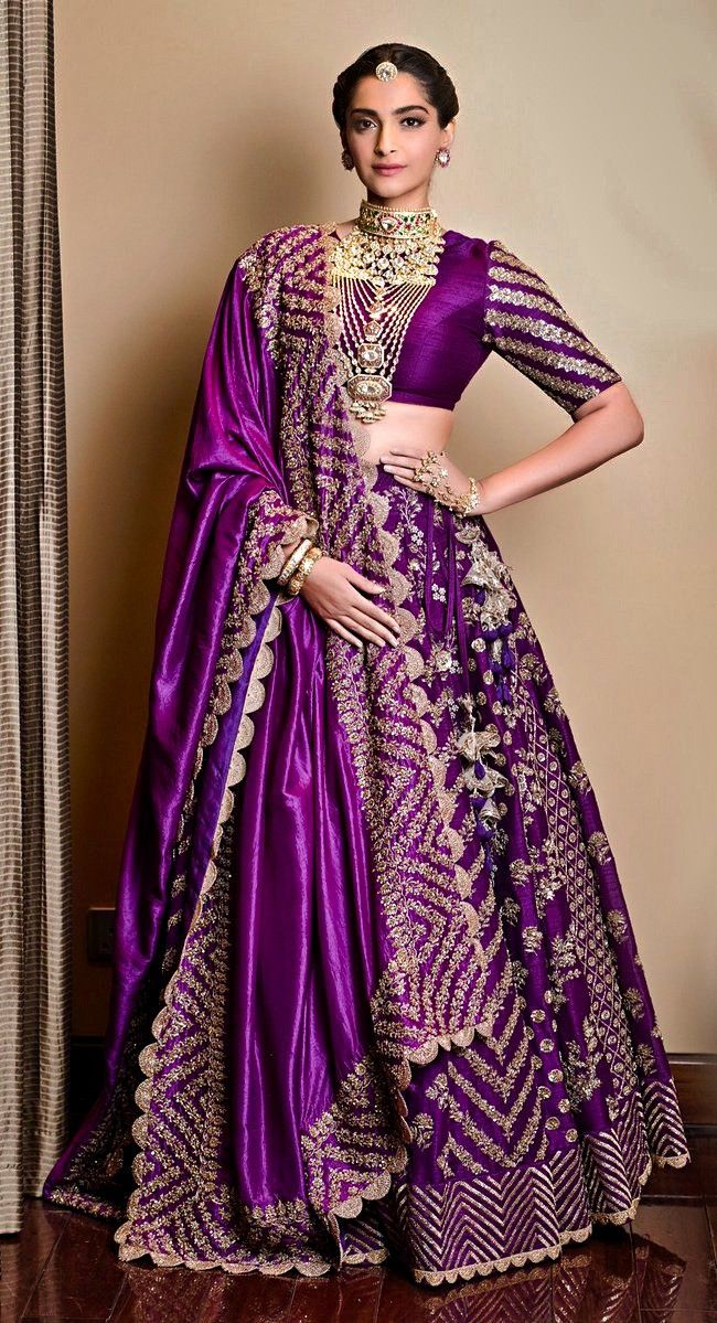 Purple Brocade Lehenga Color Combinations