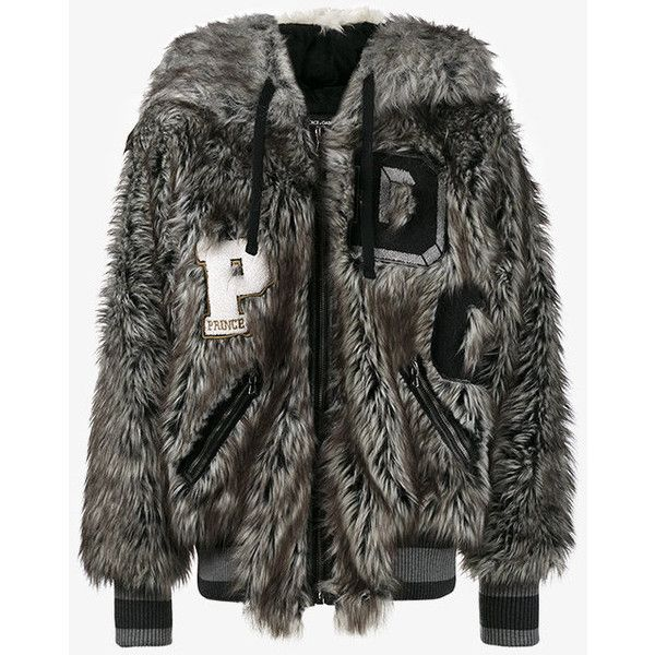 Dolce & Gabbana Wolf Hood Bomber Jacket ($2,640) ❤ liked on Polyvore featuring men's fashion, men's clothing, men's outerwear, men's jackets, grey, mens grey jacket, mens faux fur jacket, mens striped jacket, mens grey bomber jacket and mens patch jacket