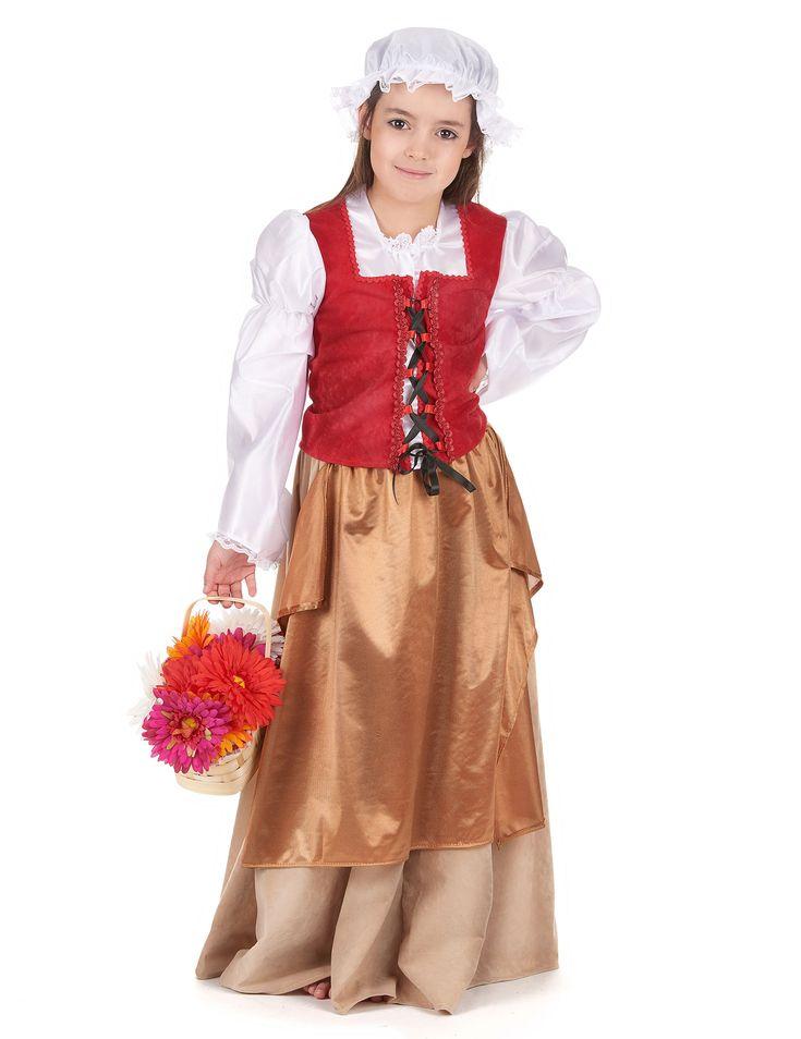 Disfraz de campesina medieval: Este disfraz de campesina medieval para niña está compuesto de un top, una falda, un cinturón y una cofia. La camisa es blanco en efecto satinado, mostrando los hombros. Un...