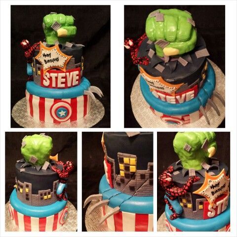 Anna's cake creations!  Marvel comic cake.   banana cake filled with peanut butter frosting and jam filling!!!