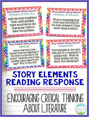 Story Elements Reading Response Task Cards.  Think critically about story elements!