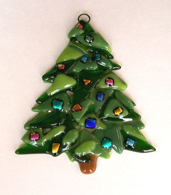 Fused Glass Christmas Ornament Christmas Tree by CDChilds on Etsy
