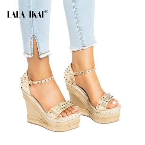 ffd179709 LALA IKAI Buckle Open Toe Wedge Sandals High-heeled Shoes Woven Platform  Rivet Sandals Fashion