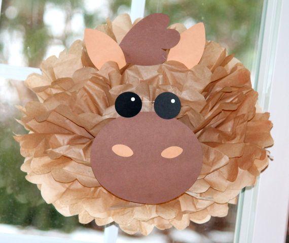 Horse pony tissue paper pompom kit Old MacDonald farm party                                                                                                                                                                                 More