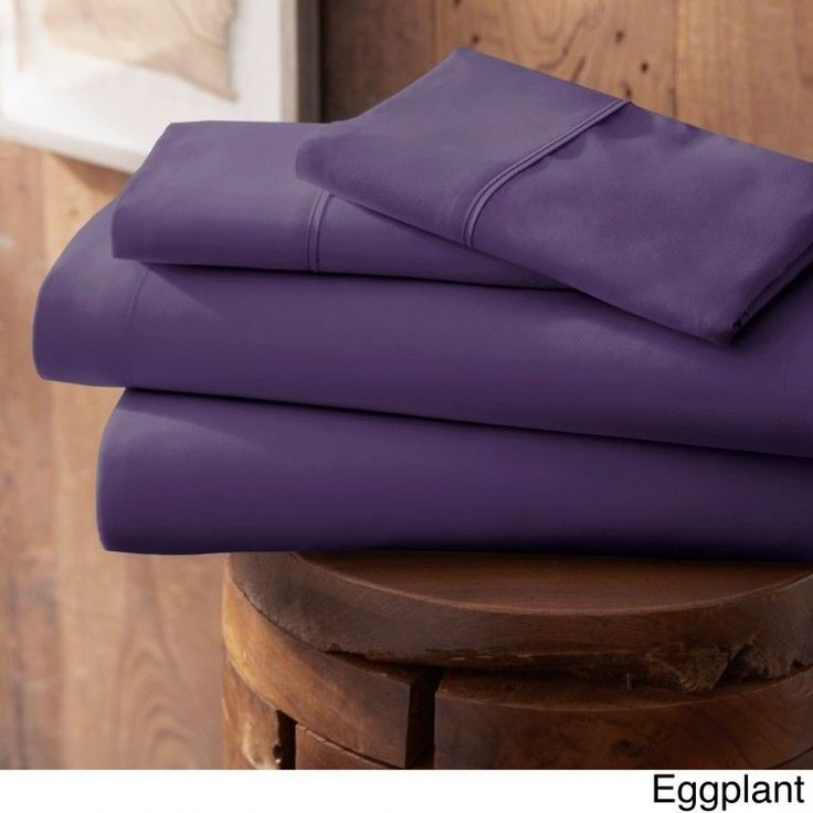 4 Piece Bed Sheet Set Luxury Soft Bedding Microfiber Fitted Flat Sheet Eggplant #BeckyCameron #Contemporary