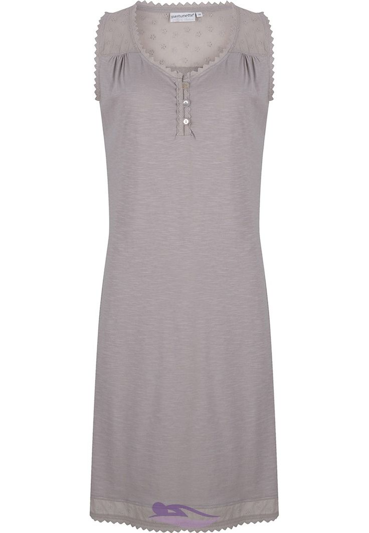 Pastunette Deluxe 'Innocent shade of grey' sleeveless cotton nightdress with little frills and buttons - http://www.pyjama-direct.nl/en/brands/pastunette-deluxe